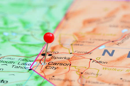 carson city: Carson City pinned on a map of USA