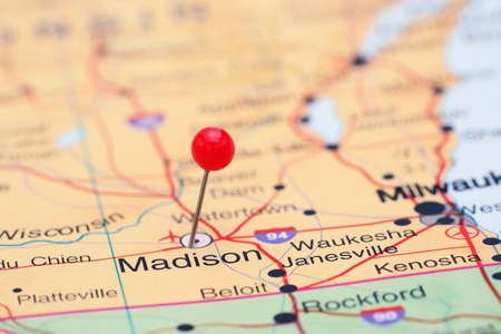 madison: Madison pinned on a map of USA