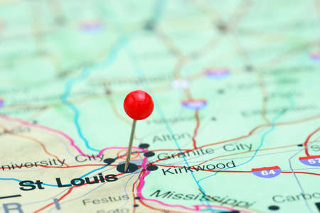 st louis: St Louis pinned on a map of USA