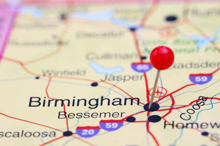 birmingham: Birmingham pinned on a map of USA