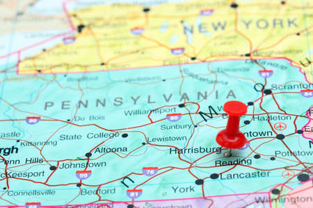 map pin: Harrisburg pinned on a map of USA Stock Photo