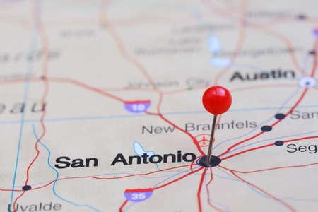 san: San Antonio pinned on a map of USA