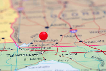 tallahassee: Tallahassee pinned on a map of USA Stock Photo