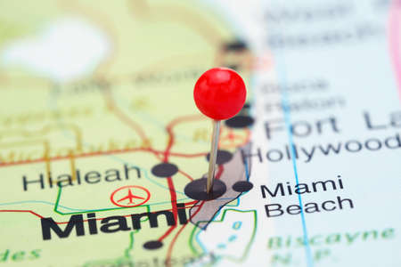 florida state: Miami pinned on a map of USA Stock Photo