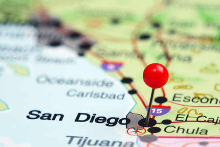vacation map: San Diego pinned on a map of USA