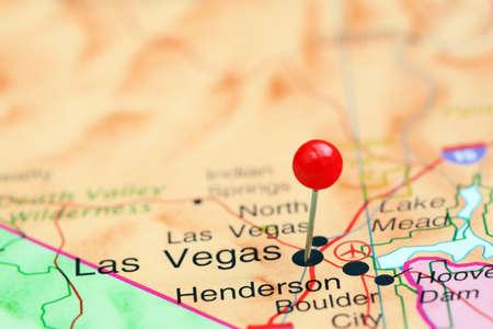las vegas  nevada: Las Vegas pinned on a map of USA