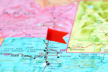 salt lake city: Salt Lake City pinned on a map of USA Stock Photo