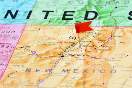 fe: Santa Fe pinned on a map of USA