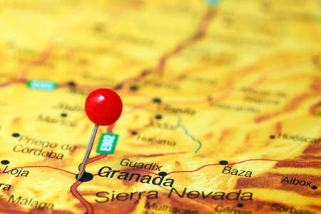 granada: Granada pinned on a map of europe