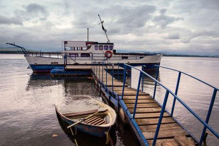 docked: docked ship in Tatras Stock Photo