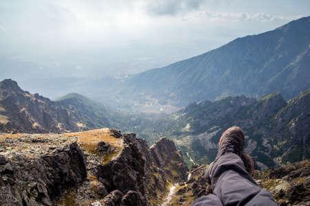 rock climbing man: skyline view from Lomnicke sedlo peak