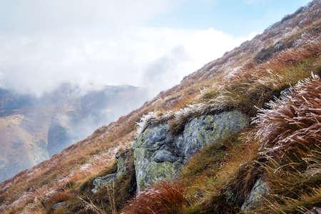 tatras: frost at Volovec mountain peak, Tatras Stock Photo