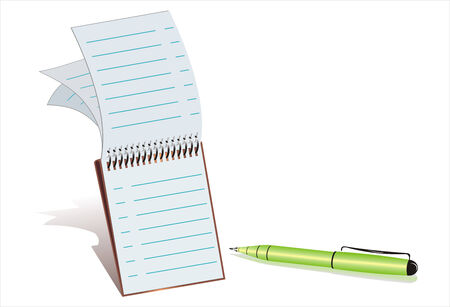 bullpen: Vector illustration from a notepad with a green ball-point pen in white background.  Illustration