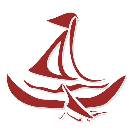 Stylized red boat (vector)