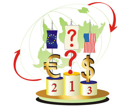 World Economic Turned Upside Down.The question is Which currency will be the winner Illustration