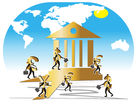 Currencys (pound, euro, dollar, yen) illustrated like bank employees. Currencys with portfolio walking to the bank to work.  Stock Vector - 4745888
