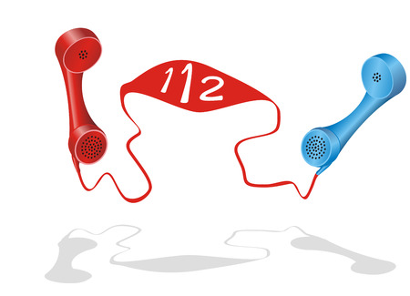 Two phone receiver with  Illustration