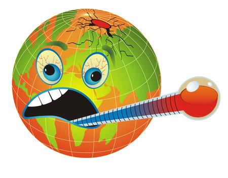 mundo contaminado: El calentamiento global. Con la ilustraci�n de dibujos animados mundo y term�metro de medici�n de temperatura del planeta.