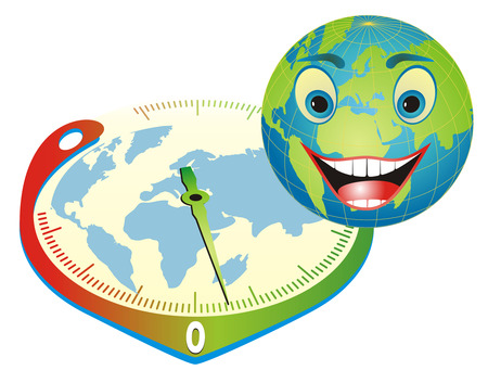 Cartoon illustration with happy globe and thermometer in clock form depicting the right way to save our planet.  Illustration