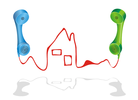 Vector illustration with two phone receivers and a house, symbol for real estate agency.