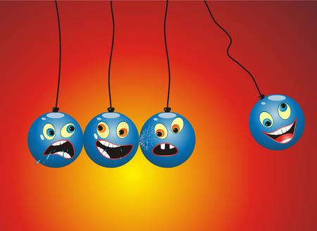 Newton Pendulum mobile with funny cartoon faces on it. Illustration