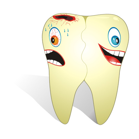 Cartoon illustration from unhealthy and healthy tooth.
