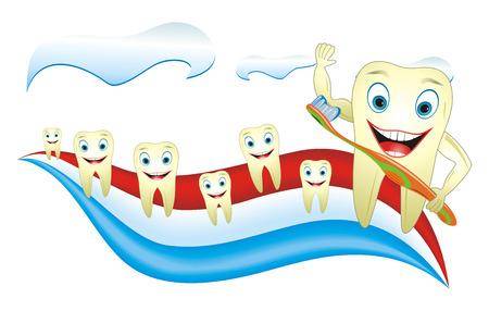 Caricatura ilustración concepto de cuidado de los dientes, dientes gracioso en la pasta de dientes. Ilustración de vector