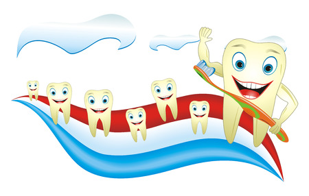 Cartoon illustration from teeth care concept, funny teeth placed on toothpaste. Vector