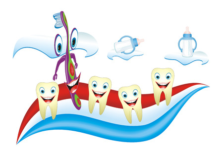 Cartoon illustration from teeth care concept, funny calfs teeth and teacher placed on toothpaste. Vector