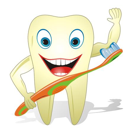 Caricatura ilustración concepto de cuidado de los dientes, dientes con cepillo de dientes gracioso