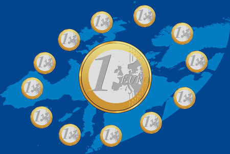 Vector illustration of Euro coins placed in circle on Europe map. Eu flag form.
