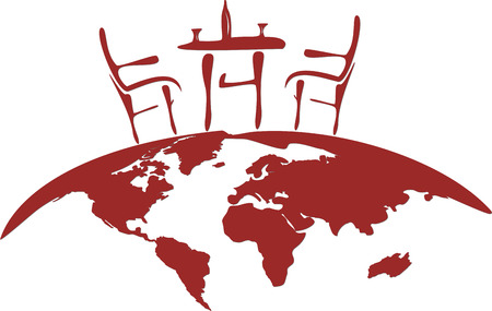 vintage world map: Red stylized vectorial illustration of chairs, table, glass and bottle for two person, placed on semicircular globe. Illustration