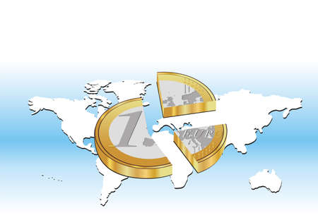 Vector illustration of a broken Euro coin placed on World map