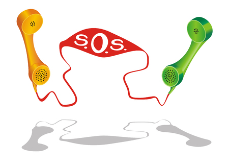 Two phone receiver with Stock Vector - 5369479