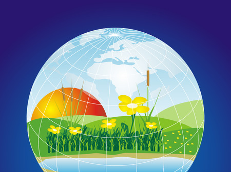 Environmental concept of preserving our world with blue background