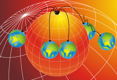 Abstract background with five small world globes hanging from one Big world globe