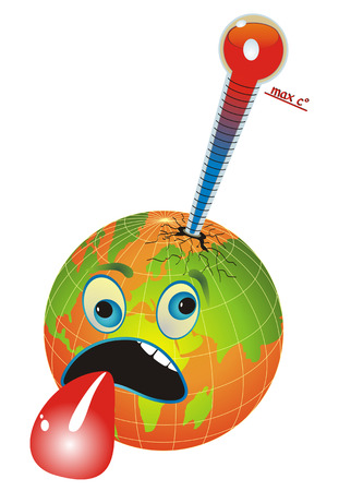 Cartoon afbeelding met wereld bol en een thermometer voor het meten van de planeet temperatuur, globale opwarming van de aarde.  Vector Illustratie