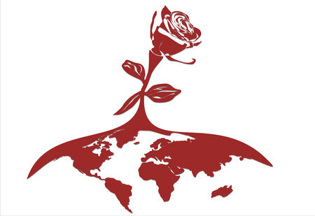 Stylized vectorial illustration of a rose, growth from globe.