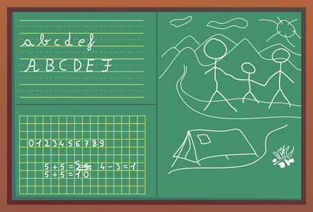 Numbers, children draw and letters written with white chalk on green blackboard with brown frame.