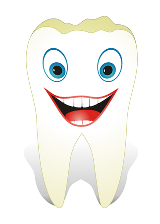 Vector illustration from teeth care concept, funny, healthy molar tooth. Vector