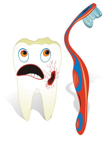 fluoride: Vector illustration concepto de cuidado de los dientes, un molar malsana con cepillo de dientes. Vectores