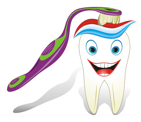 molar: Vector illustration from teeth care concept, funny molar tooth with toothbrush and toothpaste.