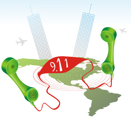 Illustration with American map, two towers, airplanes and two phone receiver with  Illustration