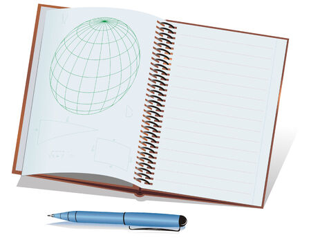Geometrical notes and globe drawn in a notepad. Blue ball-point pen.