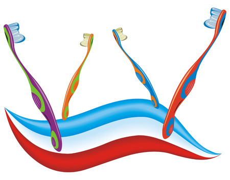 Cartoon illustration from teeth care concept, four colored toothbrushes with toothpaste Illustration