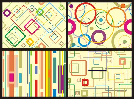 seamless vector backgrounds with different color shapes Illustration