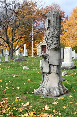 Historical graveyard in autumn. photo