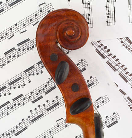 The scroll of the violin in profile, showing beautiful curves. photo