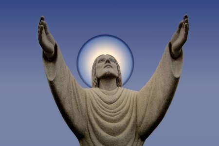 Jesus on Blue gradient with halo Stock Photo