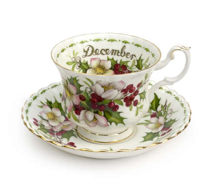 porcelain: December Cup and Saucer - Teacup on white background